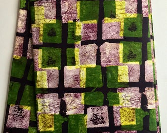 African print fabric, Green Square Batik, African Wax Print, Tribal print, African Ankara, African Material, sold by the yard