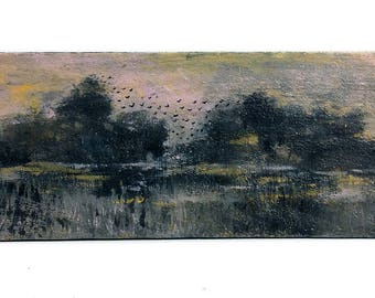 Evening in the Marsh, Acrylic on Reclaimed Wood, Harvest, Hand Painted, Nature, Folk Art, MS Delta, Eclectic Wall Hanging