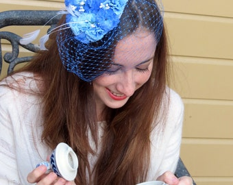 "Blue Fascinator wedding  fascinator with blue veil bridal shower ""Romantic Moments"""