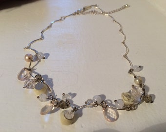 Ladies white metal fancy linked necklace