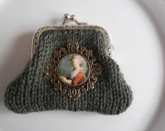 Khaki purse with Medallion Marie-Antoinette