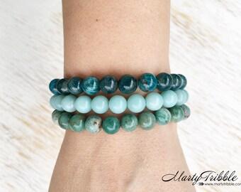Healing Crystals Bracelet, Gemstone Bracelet, Stackable Bracelets, Jade Bracelet, Amazonite Bracelet, Apatite Bracelet, Stone Bracelets