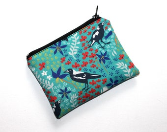 Small Zippered Pouch in Lovely Magpie Fabric