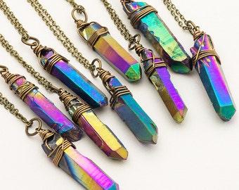 Raw Rainbow Titanium Quartz Necklace Iridescent Crystal Necklace Rough Metallic Aura Quartz Point Pendant Boho Style Layering Necklace