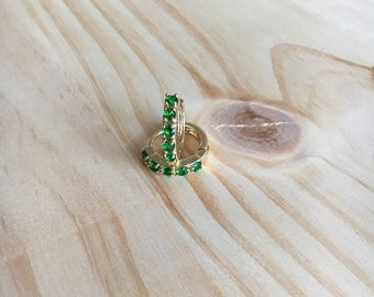Mini Hoops,Thin Hoop Earrings, Tiny Hoop Earrings, Small Gold Hoops, Small Earrings, Emerald Hoop Earrings, Gold Hoop, Emerald Earrings