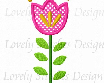 Tulip Flower Applique Machine Embroidery Design NO:0261