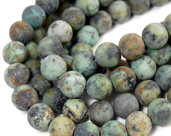 """African Turquoise Beads Matte 10mm, Two 15"""" strands"""