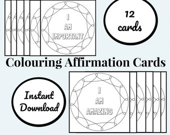 Printable Colouring Affirmation Cards, Positive Messages, Digital Cards, Adult Colouring Pages, Kids Colouring, Daily Affirmations