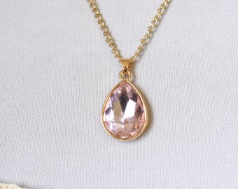 Millennial Pink Jewel Necklace, Pastel Pink Rhinestone Teardrop Pendant, Estate Style Jewelry, Gold Chain