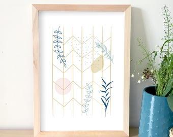Affiche design, illustration, art graphique, automne, décoration maison, poster graphique, affiche scandinave, moderne, affiche végétale
