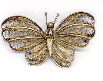 Large Vintage 1950's Solid Silver (800 Grade) Filigree Butterfly Brooch