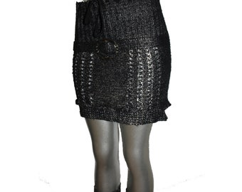 """Shela Woman women Reinvented upcycled """"One of a kind"""" black silver mini skirt medium large"""