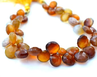 Varigated Brown Chalcedony Faceted Heart Briolette Strand