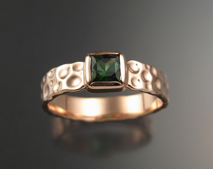 Green Tourmaline square Moonscape ring Emerald substitute 14k rose gold ring handcrafted in your size