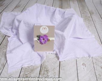 Purple Layering Blanket, Purple Tieback, Purple Headband, Purple Swaddle Blanket, Liliac Blanket, Gingham Posing Blanket, Infant Headband