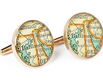 Baltimore  Bronze Map Cufflinks Vintage Atlas
