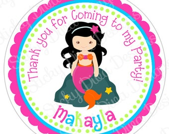PERSONALIZED STICKERS - Adorable Mermaid Sticker Labels - Round Gloss Labels