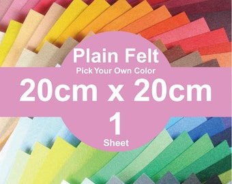 1 Plain Felt Sheet - 20cm x 20cm per sheet - Pick your own color (A20x20)