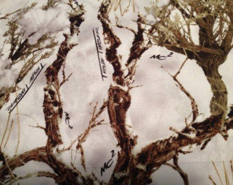 White True Timber Camouflage Camo Fabric - Cotton - Sold by the Yard