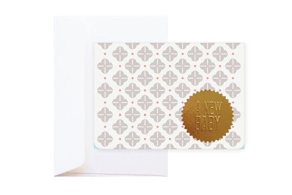 Orson New Baby Greeting Card (including envelope) // feat. Abstract Graphic Pattern & Gold Embossed Sticker