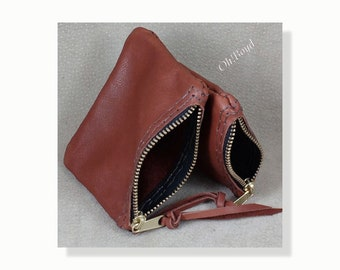 Zippered Coin Purse - Hand Stitched Leather, Two Sizes, Many Colors for Man or Woman, Tough USA Brass Zipper, Attractive Sturdy Construction