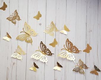 Attractive 3D Gold Paper Butterflies Butterfly Wall Art Butterfly Home Decor Gold Butterflies  Butterfly Embellishments Gold Butterfly