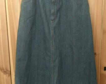French 70s vintage denim midi skirt, legion etrangere