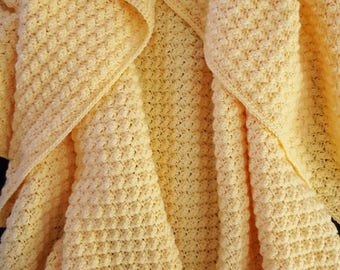 Snuggly Yellow Baby Blanket, Crochet Baby Throw, Lightweight Baby Blanket