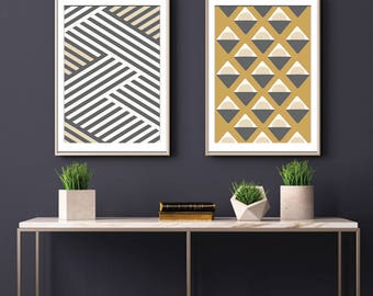 Freedom Geometric Patterns (Series A) Set of 2 - Art Prints (Featured in Charcoal and Gold Sky) Botanical Print Set