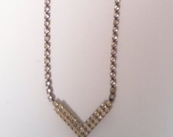 Silver and Rhinestone Chevron Necklace Costume Jewelry Choker Hollywood Style Resort Wear