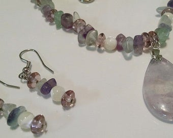 Fluorite and Amethyst Jewelry Set