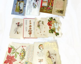 14 Vintage Edwardian Christmas Postcards - Santa, Father Christmas, Poinsettia, Bells