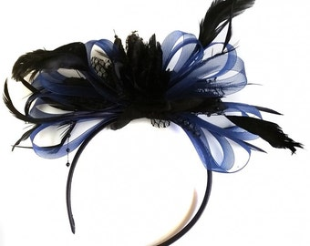 Navy Blue Hoop & Black Feathers Fascinator On Headband