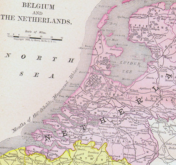 netherlands belgium map southern italy 1890 rand mcnally four