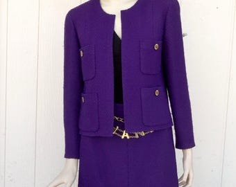 Vintage CHANEL Boutique Deep Purple Tweed 2 Pc Skirt Suit SZ 42 CC Logo Buttons