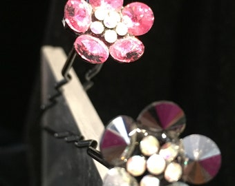 Hair Accessories  no.HP304  2 hair picks/pins   - one pink and one gunmetal   3 inch wires