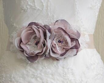 Champagne ribbon sash Purple blush sash Champagne blush ribbon sash Blush champagne sash Purple wedding dress Purple ivory bridesmaids dress