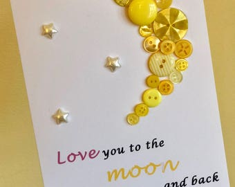 Love you to the moon and back card with buttons