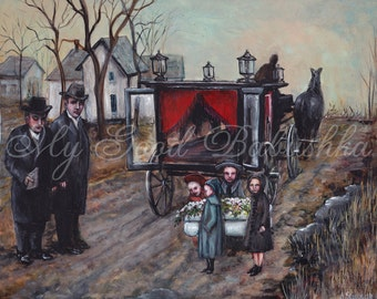 Funeral Print, Victorian Funeral for a Child, Pallbearers, Mourners, Horse Drawn Hearse, Winter Funeral, Small Coffin, Memento Mori