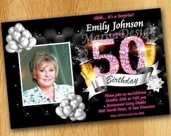 50th birthday invitation black gold and diamonds birthday 50th birthday invitations 60th birthday invitations for women 70th birthday invitations for women stopboris Images