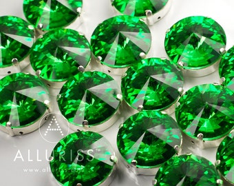 9pcs Peridot Green Crystal, 18mm Round, Fancy Stone & Setting