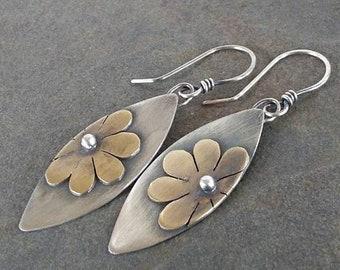 Rustic-Handmade-OOAK-Sterling Silver-Brass-Artisan-Flower Earrings.