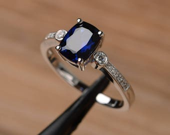 lab sapphire ring engagement anniversary ring cushion cut solid sterling silver ring September birthstone blue gemstone ring