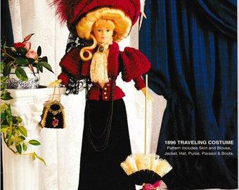 DIGITAL DOWNLOAD  Vintage 1896 Traveling Costume  Barbie Fashion Doll Crochet Pattern Booklet
