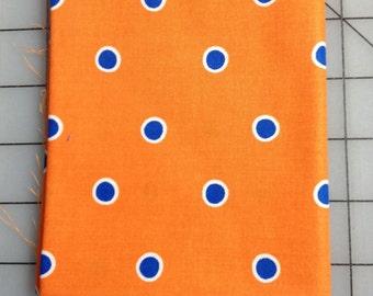 Half yard cut of Dena Designs - Fox Playground - Dots in Orange - PWDF190 -  Orange background blue dots lined in white