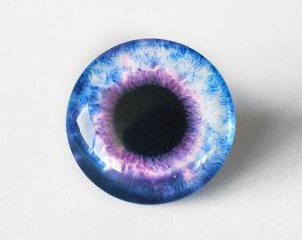 25mm handmade glass eye cabochon - purple eye - standard profile