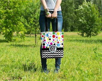 Customzied Tote Bag - Monogram Tote - Personalized Tote Bag - Chevy Dot
