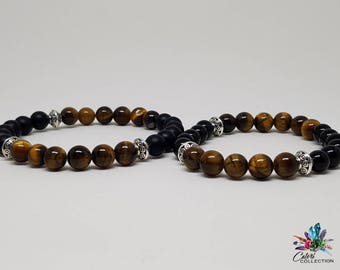 Matching Couples Onyx and Tiger Eye bracelets Anniversary Gift Just Because