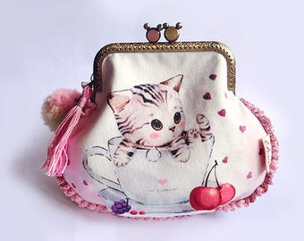 Illustration Cat in a Tea Cup -  Metal Frame Purse, Kiss-lock Metal Frame Purse, Make-up Purse, Multi-purposes Purse