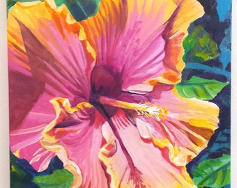 hibiscus original acrylic painting from kauai hawaii hawaiian paintings pink yellow tropical flowers interior decor kauai fine art flower